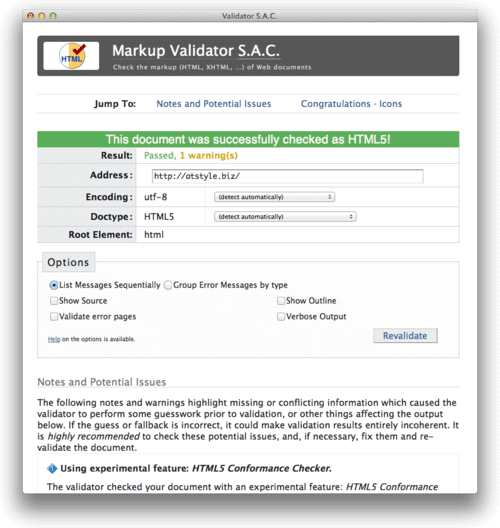 Validator S.A.C.検証結果